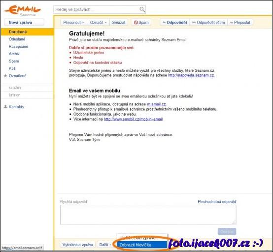 obrázek seznam.cz tobrazení hlavicky emailu