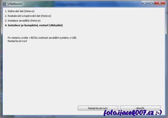 obrázek unetbootin dokončení vytvožené boot usb