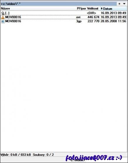 obrázek velikosti soouboru videa 3GP a avi