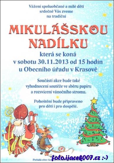 obrázek pozvánka na mikulášskou nadílku obce Krasov