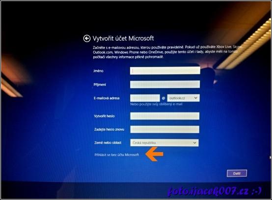 obrázek Instalace Windows 8.1 uživatelský učet