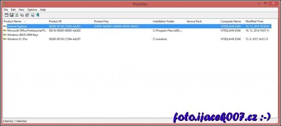 obrázek program ProduKey