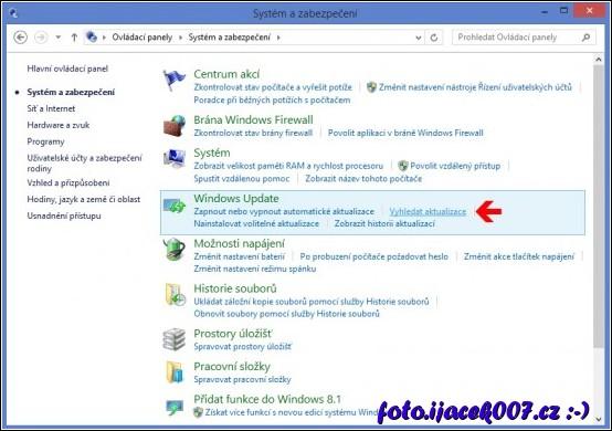 obrázek ovladaci panely vyhledat aktualizace