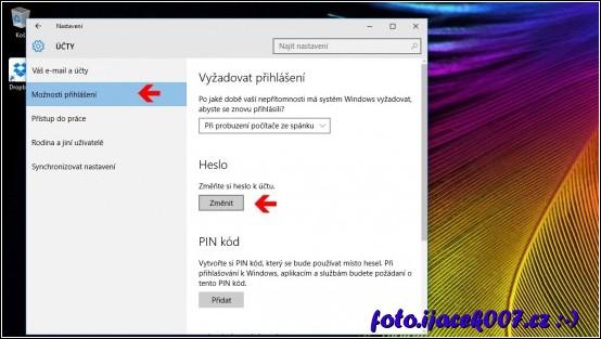 obrázek možnosti přihlášení Windows10