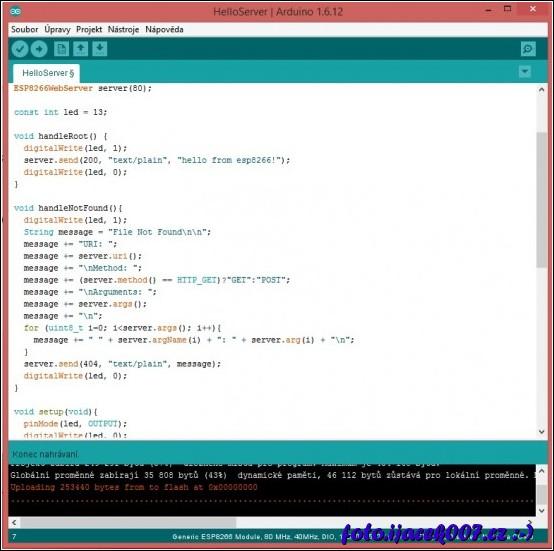 obrázek nahrání příkladu do modulu