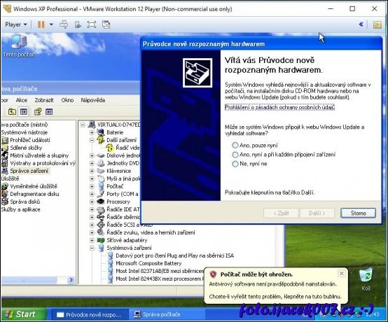 obrázek windows XP pod VMware bez nástrojů