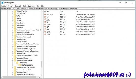 obrázek windows 10 regedit editace souboru prohlížeče obrázků