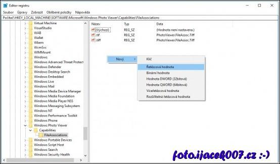 obrázek windows 10 regedit přidání hodnoty