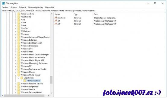 obrázek windows 10 regedit prohlížeč obrázku a jeho přípony tovární nastavení
