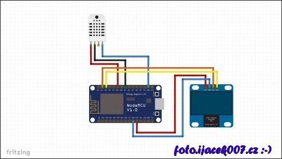 obrázek Zapojení LCD a teploměru