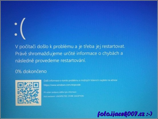 obrázek windows 10 bluescreen