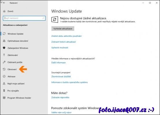 obrázek Windows 10 nastavení obnovení