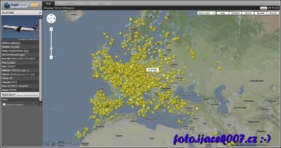 obrázek letový radar www.flightradar24.com